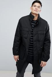 Parka With Double Pockets And Hidden Hood