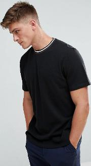 Pique T Shirt With Contrast Collar In Black