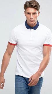 Polo Shirt With Contrast Collar In White