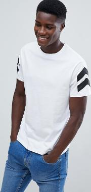 t shirt in white with arrow print on sleeves