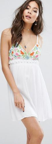 cami dress with festival embroidery