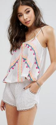 cami top with festival embroidery