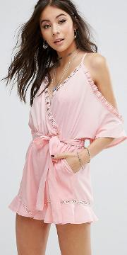 cold shoulder playsuit with ruffle hem