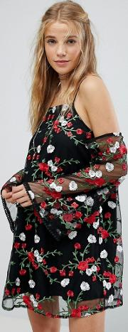 Cold Shoulder Swing Dress With Sheer Sleeves And Floral Embroidery