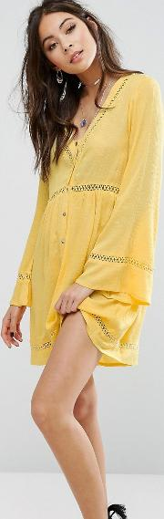 festival button front tea dress with ladder inserts