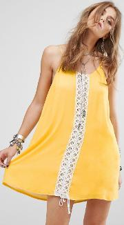 festival cami dress with lace panel