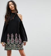 High Neck Swing Dress With Rainbow Embroidery And Pom  Trim