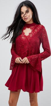 lace insert smock dress with choker detail