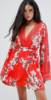 Wrap Front Tea Dress In Floral