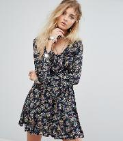 Tea Dress In Vintage Floral With Ruffle Trim