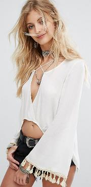 Top With Cross Strap And Flared Sleeves  Tassel Trim