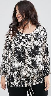 Cold Shoulder Abstract Print Tie Front Blouse