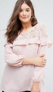 lace and ruffle detail crepe blouse