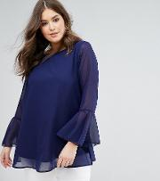 Navy Bell Sleeve Embroidered Neck Blouse