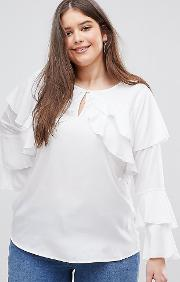 ruffle detail blouse with flared sleeves