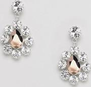 london swarovski crystal pear drop surround earrings