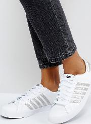 blemont metallic trainers  white with silver stripe