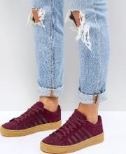 k swiss court frasco trainers  burgundy with gum sole