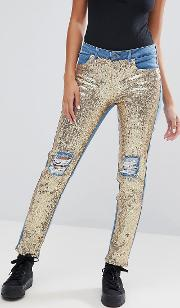 Distressed Sequin Front Skinny Jeans