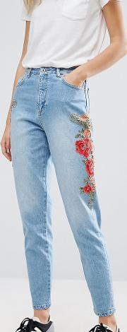 floral embroidered side mom jeans