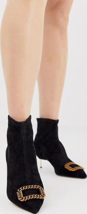 Kurt Geiger Bellevue Leather Kitten Heeled Ankle Boots With Contrast Gold Buckle