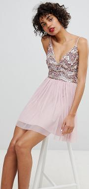lace & beads embellished mini dress with tulle skirt