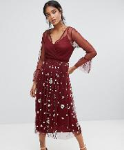 Lace & Beads Embellished Tulle Dress With Frill Sleeve