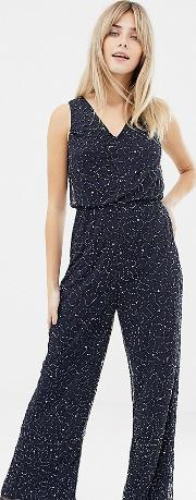 Lace & Beads Embellished Wide Leg Jumpsuit