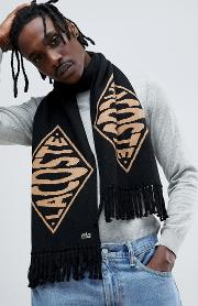 lacoste  ve text logo reversible scarf in black