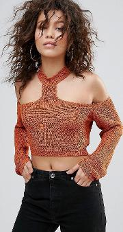 distressed choker neck cropped jumper