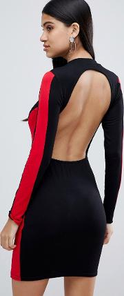 High Neck Bodycon Dress With Open Back