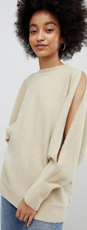 split sleeve over sized jumper