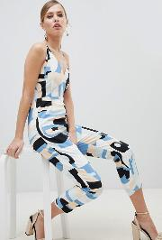 abstract print strappy jumpsuit