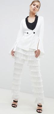 fringed tapered leg trousers
