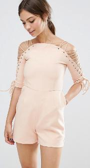 Lace Up Sleeve Playsuit