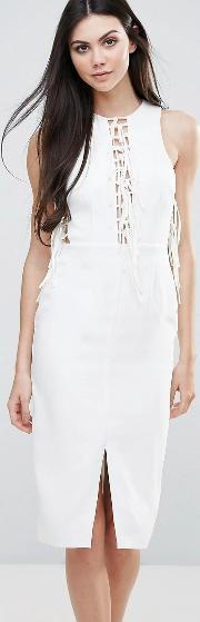 Midi Dress With Lace Up Front