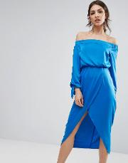 Off Shoulder Midi Dress With Tie Sleeve