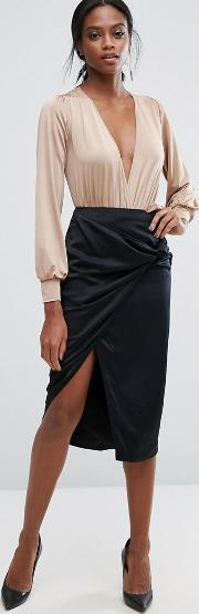 Pencil Skirt With Knot Detail