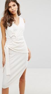 Ribbed Dress With Belt Detail