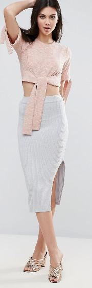 Ribbed Knitted Skirt With Split Detail
