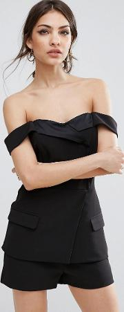 tailored playsuit with satin lapel