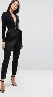 Tailored Trousers In Satin