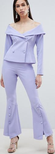Woven Bell Hem Tailored Trousers