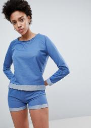 navy sleep sweat and short pyjama