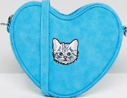 Blue Heart Shaped Embroidered Cat Cross Body Bag