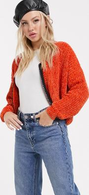 Chenille Cardigan With Contrast Zip Front