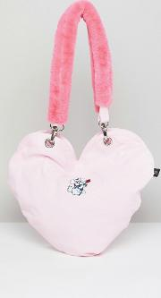 dog heart tote bag with faux fur handle