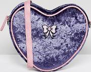 exclusive velvet heart cross body bag with bow detail