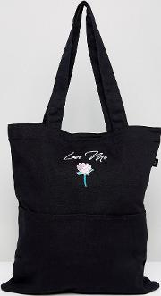 love me embroidered tote bag