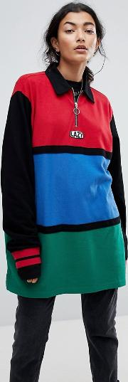 Oversized Rugby Shirt With Zip Neck In Colourblock